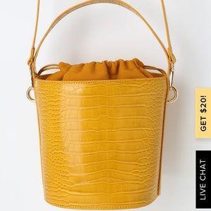 Lulus Mariposa Yellow Crocodile skin bag
